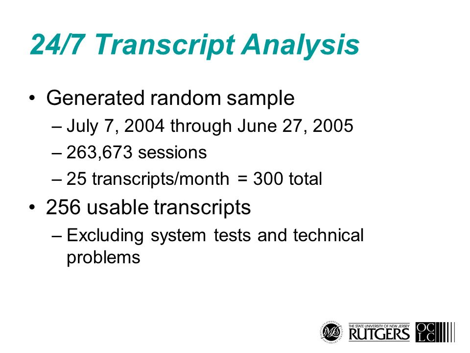 24/7 Transcript Analysis Generated random sample –July 7, 2004 through June 27, 2005 –263,673 sessions –25 transcripts/month = 300 total 256 usable tr