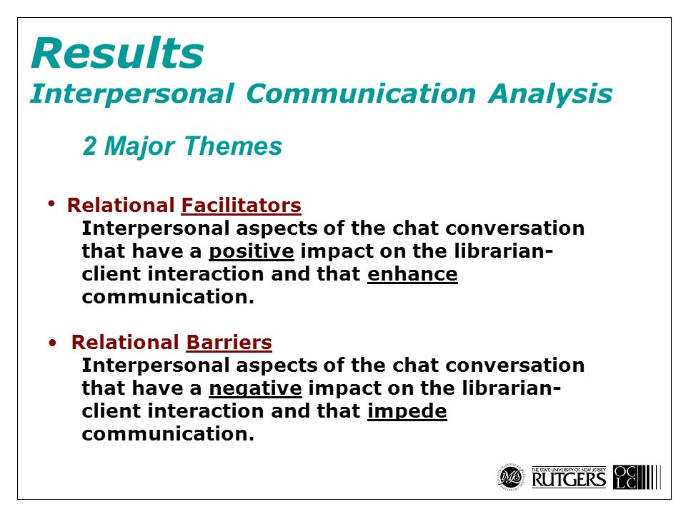 2 Major Themes Relational Facilitators Interpersonal aspects of the chat conversation that have a positive impact on the librarian- client interaction and that enhance communication.