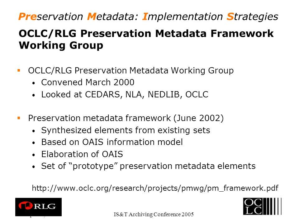 Preservation Metadata: Implementation Strategies Apr.