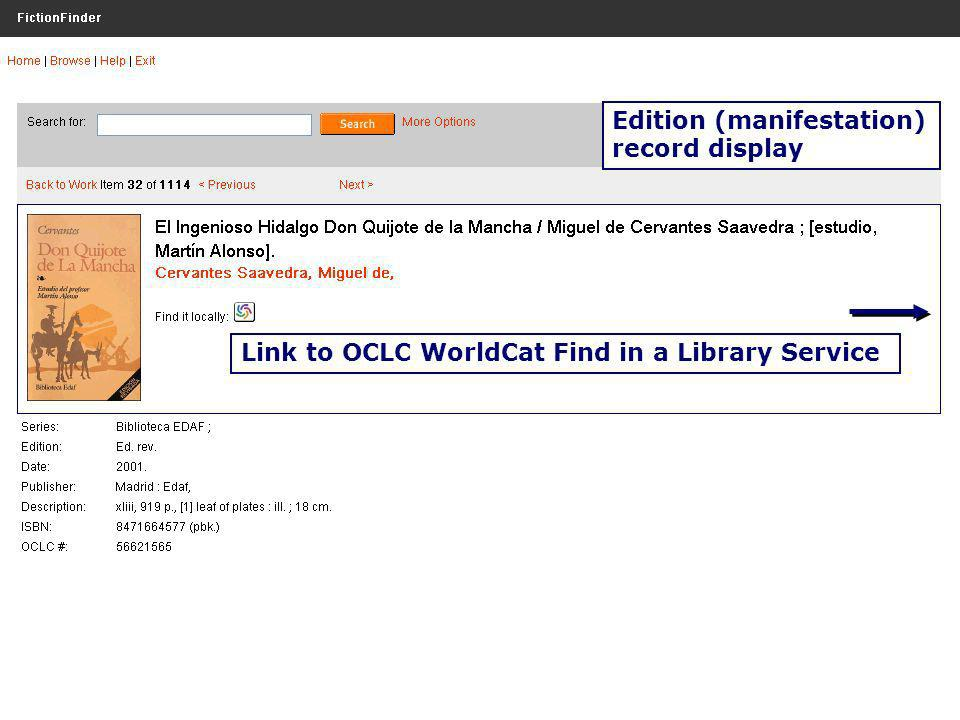 OCLC Research OCLC Online Computer Library Center Link to OCLC WorldCat Find in a Library Service Edition (manifestation) record display
