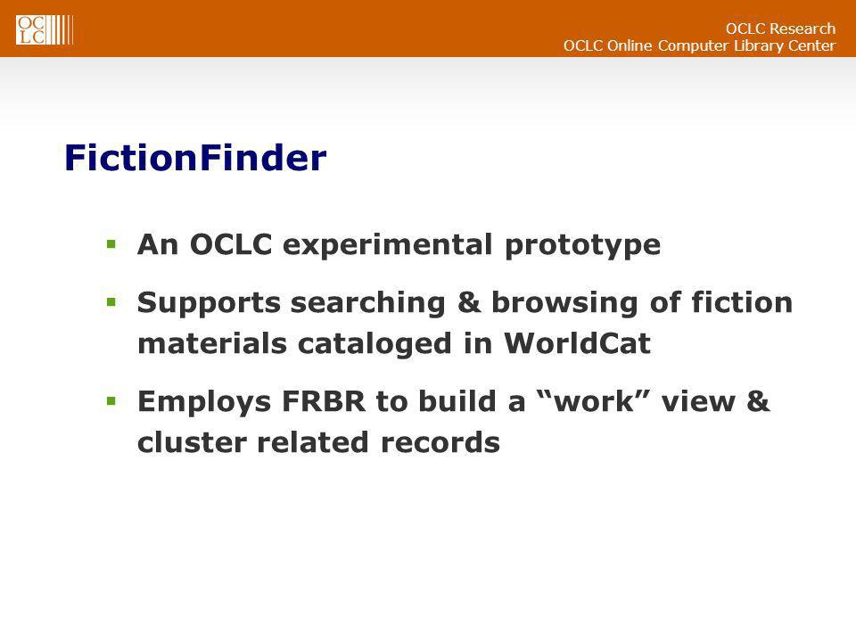 OCLC Online Computer Library Center FictionFinder An OCLC experimental prototype Supports searching & browsing of fiction materials cataloged in World