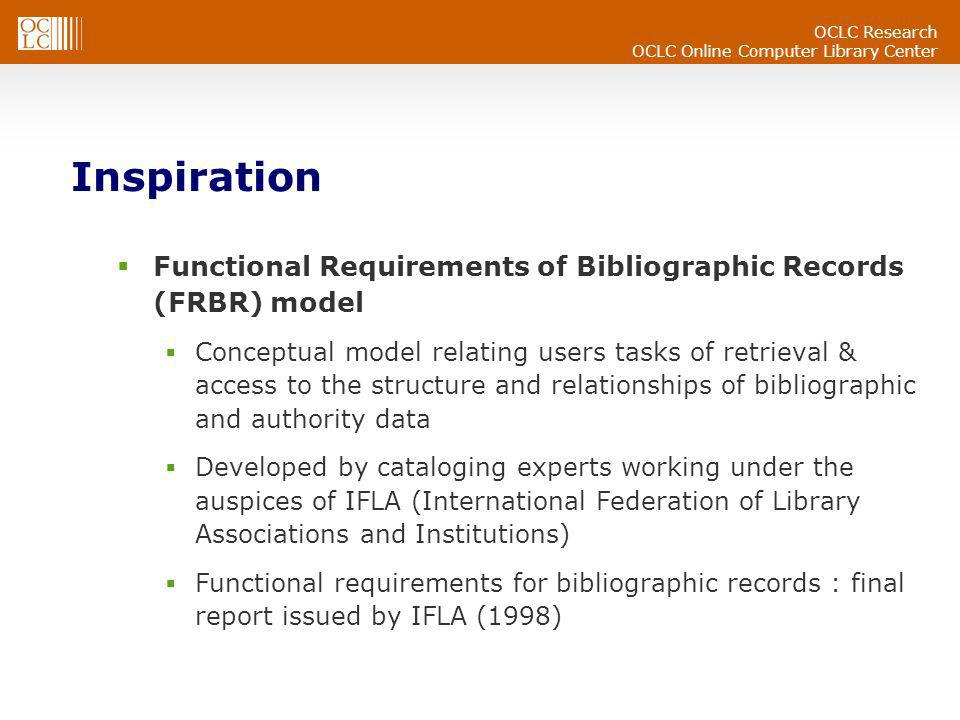 OCLC Research OCLC Online Computer Library Center Inspiration Functional Requirements of Bibliographic Records (FRBR) model Conceptual model relating users tasks of retrieval & access to the structure and relationships of bibliographic and authority data Developed by cataloging experts working under the auspices of IFLA (International Federation of Library Associations and Institutions) Functional requirements for bibliographic records : final report issued by IFLA (1998)