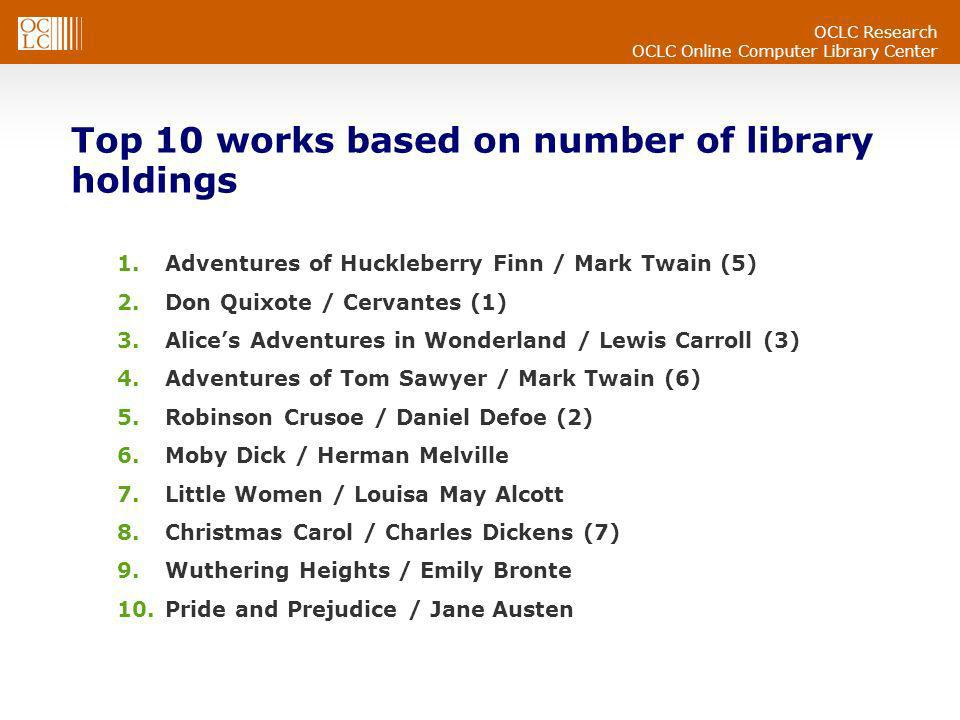 OCLC Research OCLC Online Computer Library Center Top 10 works based on number of library holdings 1.Adventures of Huckleberry Finn / Mark Twain (5) 2.Don Quixote / Cervantes (1) 3.Alices Adventures in Wonderland / Lewis Carroll (3) 4.Adventures of Tom Sawyer / Mark Twain (6) 5.Robinson Crusoe / Daniel Defoe (2) 6.Moby Dick / Herman Melville 7.Little Women / Louisa May Alcott 8.Christmas Carol / Charles Dickens (7) 9.Wuthering Heights / Emily Bronte 10.Pride and Prejudice / Jane Austen
