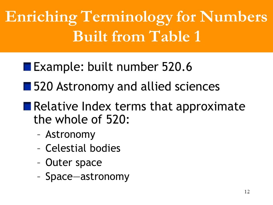 12 Enriching Terminology for Numbers Built from Table 1 Example: built number 520.6 520 Astronomy and allied sciences Relative Index terms that approximate the whole of 520: –Astronomy –Celestial bodies –Outer space –Spaceastronomy