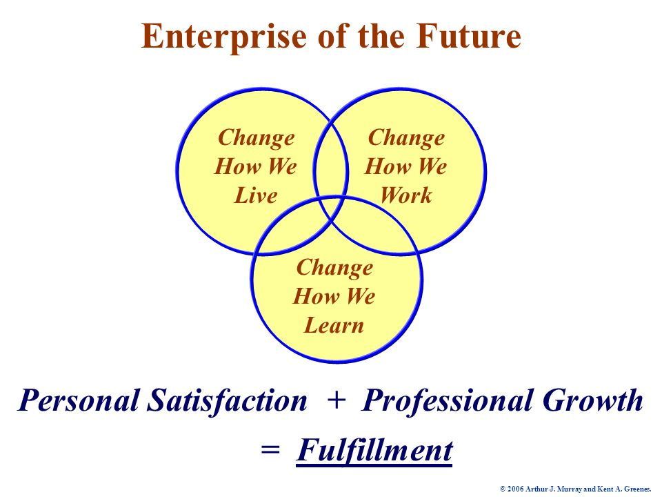 Change How We Live Change How We Work Change How We Learn Enterprise of the Future + Professional GrowthPersonal Satisfaction = Fulfillment © 2006 Arthur J.