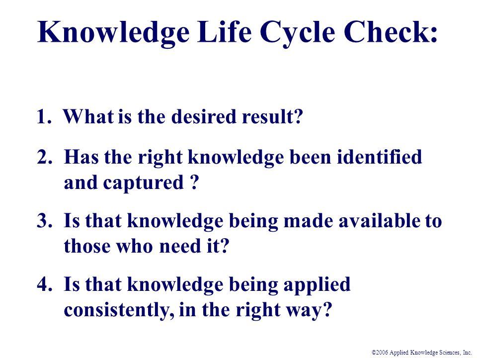 Knowledge Life Cycle Check: 1. What is the desired result.