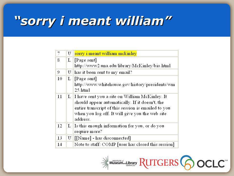 sorry i meant william