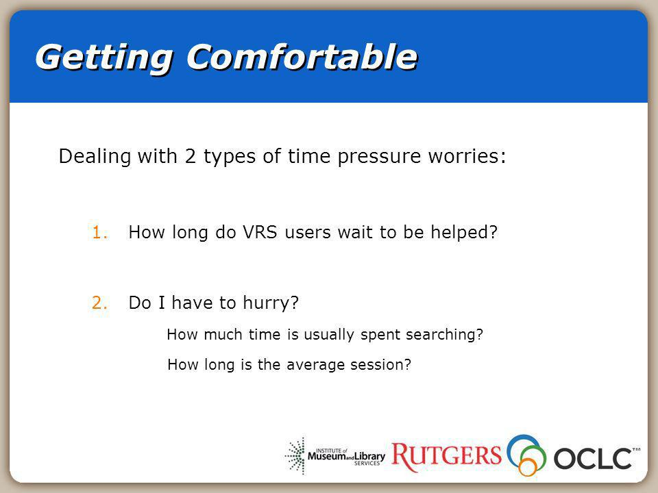 Getting Comfortable Dealing with 2 types of time pressure worries: 1.How long do VRS users wait to be helped.