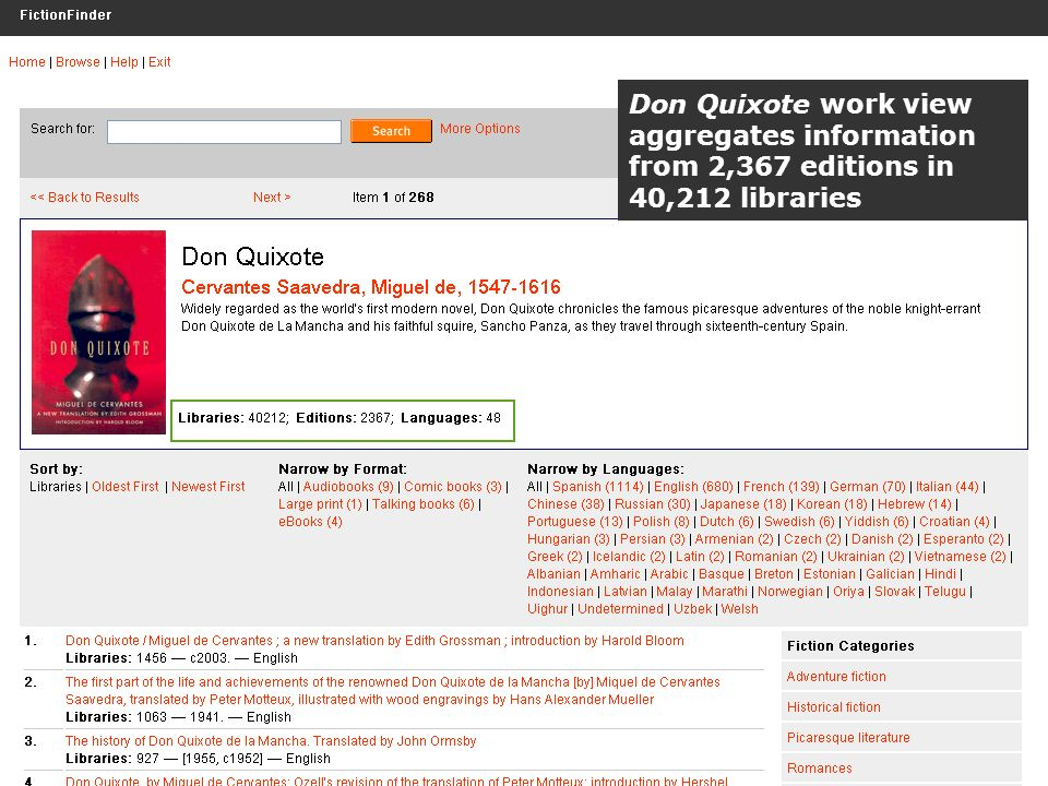 OCLC Online Computer Library Center Don Quixote work view aggregates information from 2,367 editions in 40,212 libraries