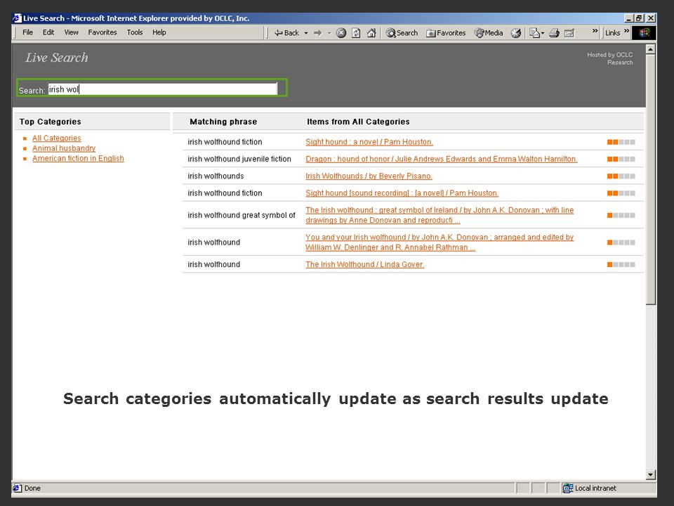 Search categories automatically update as search results update