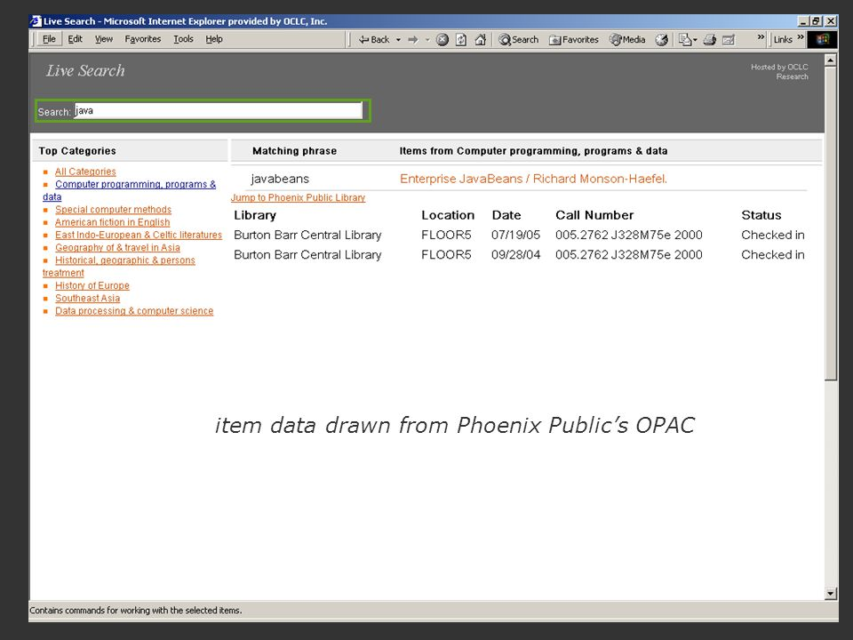 item data drawn from Phoenix Publics OPAC