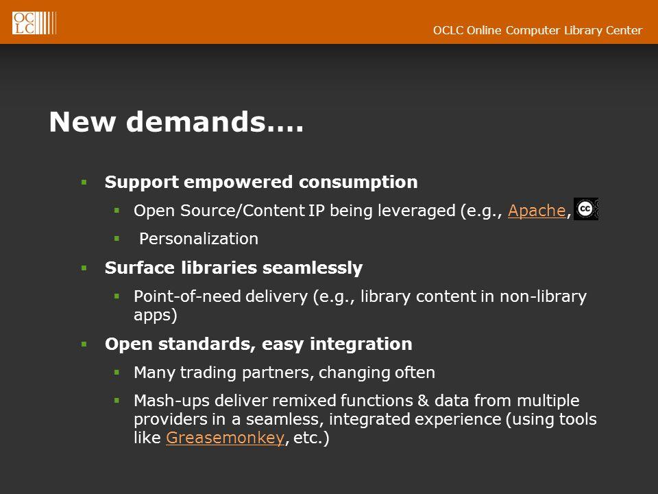 OCLC Online Computer Library Center New demands….