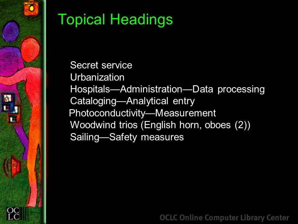 Topical Headings Secret service Urbanization HospitalsAdministrationData processing CatalogingAnalytical entry PhotoconductivityMeasurement Woodwind t