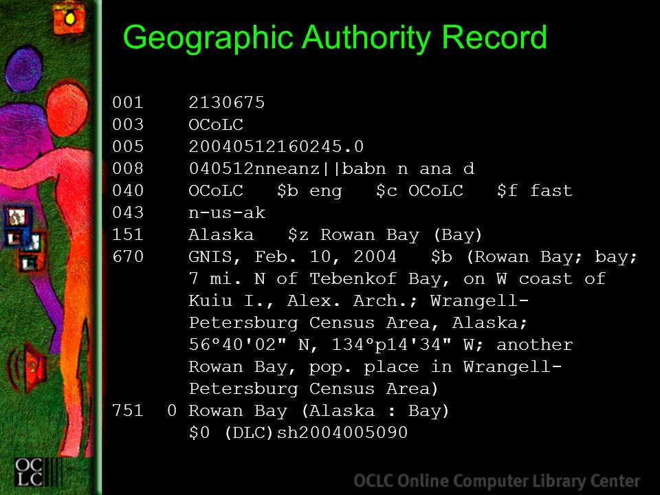 Geographic Authority Record 001 2130675 003 OCoLC 005 20040512160245.0 008 040512nneanz||babn n ana d 040 OCoLC $b eng $c OCoLC $f fast 043 n-us-ak 15