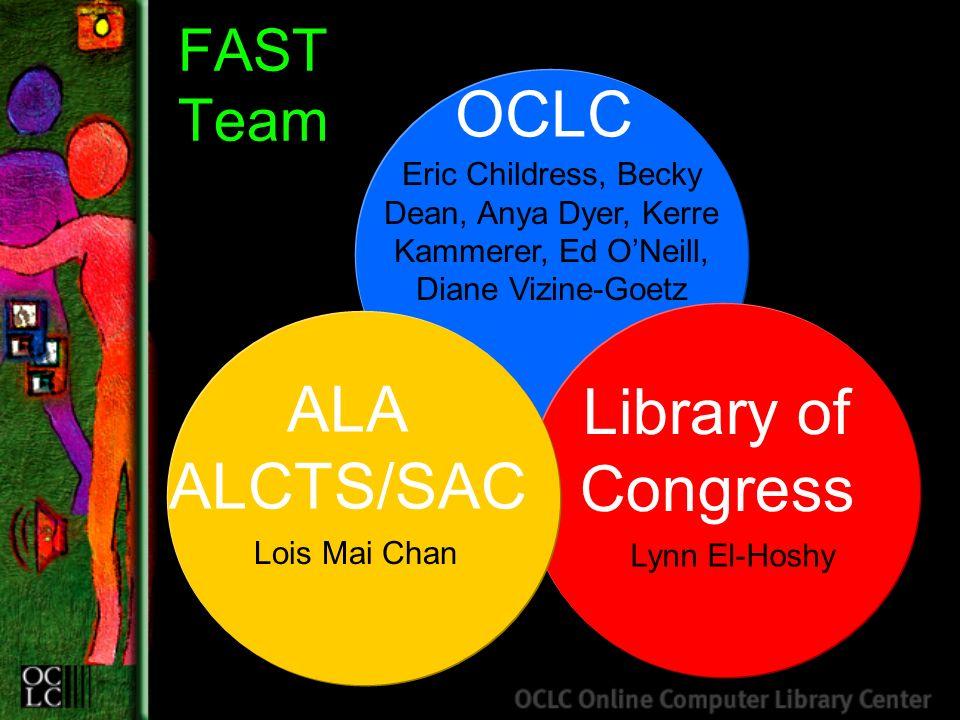 FAST Team OCLC Eric Childress, Becky Dean, Anya Dyer, Kerre Kammerer, Ed ONeill, Diane Vizine-Goetz Library of Congress Lynn El-Hoshy ALA ALCTS/SAC Lo