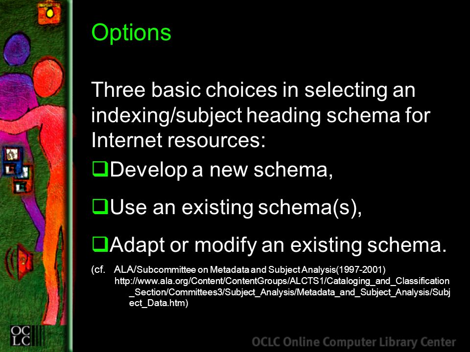 Options Three basic choices in selecting an indexing/subject heading schema for Internet resources: Develop a new schema, Use an existing schema(s), A