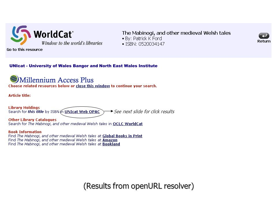 (Results from openURL resolver) See next slide for click results