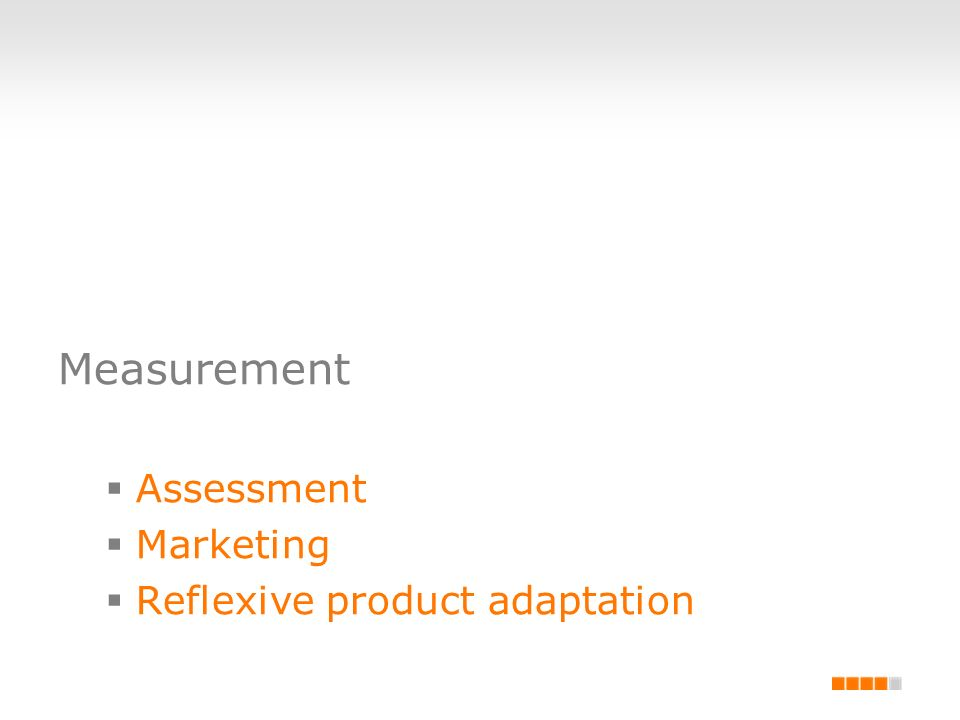 Measurement Assessment Marketing Reflexive product adaptation