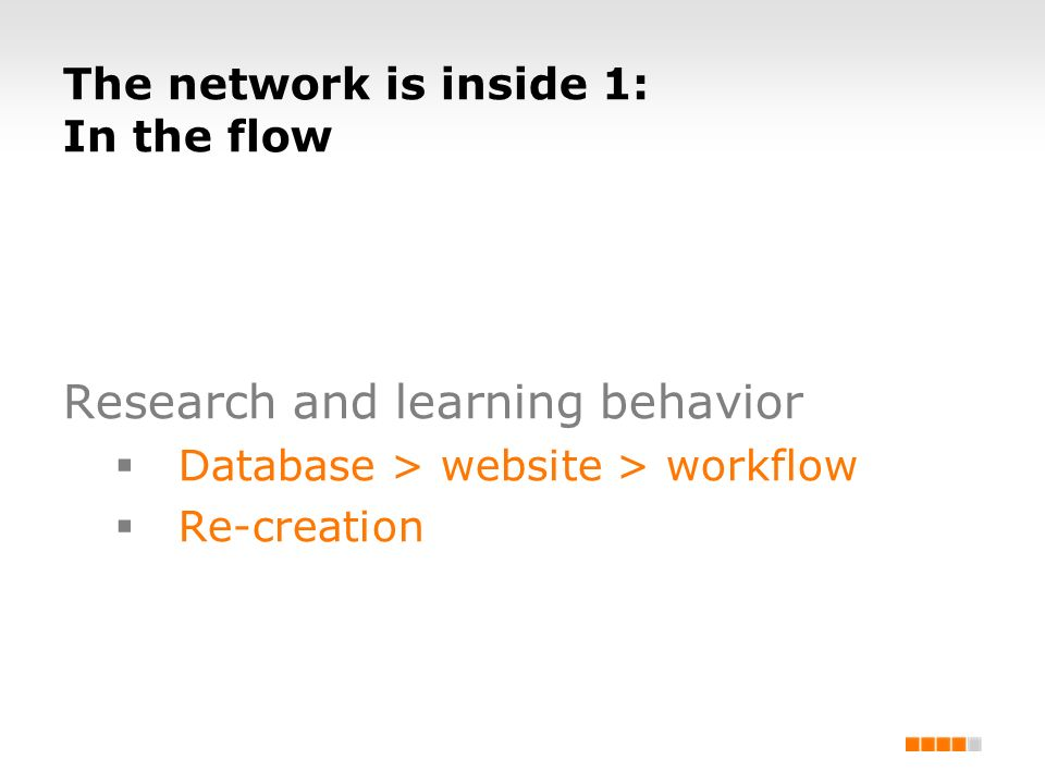 The network is inside 1: In the flow Research and learning behavior Database > website > workflow Re-creation