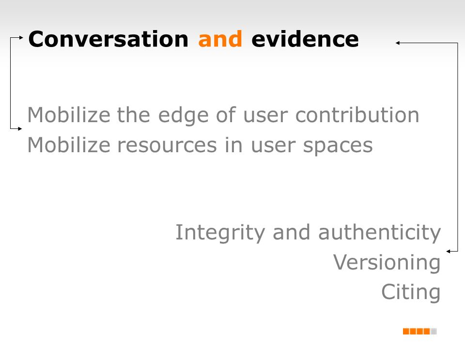 Conversation and evidence Mobilize the edge of user contribution Mobilize resources in user spaces Integrity and authenticity Versioning Citing