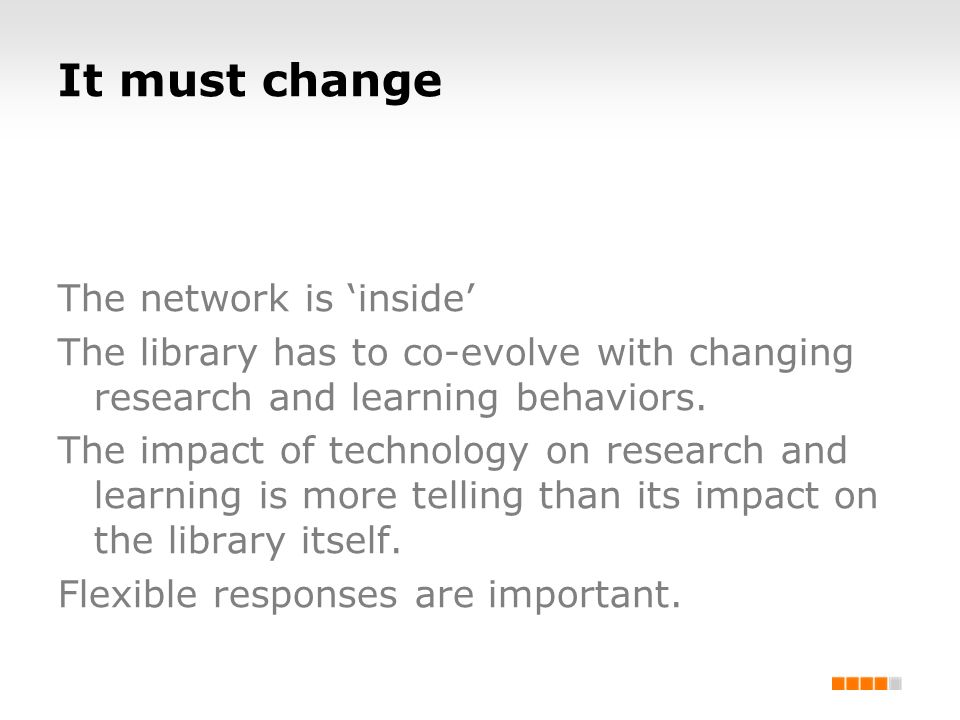 It must change The network is inside The library has to co-evolve with changing research and learning behaviors. The impact of technology on research