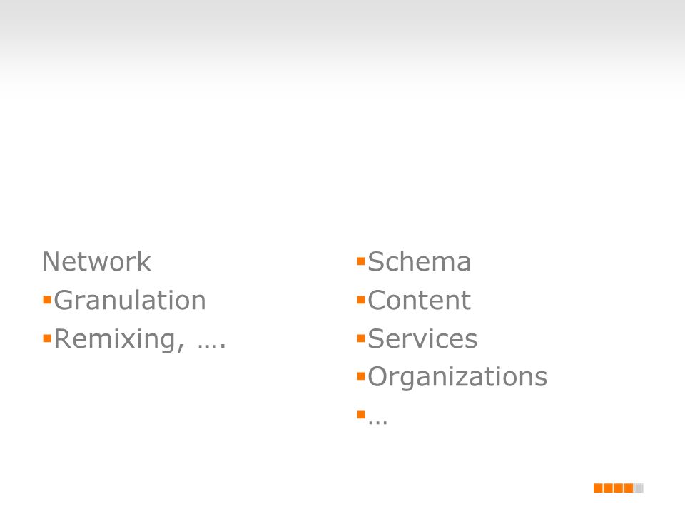 Network Granulation Remixing, …. Schema Content Services Organizations …