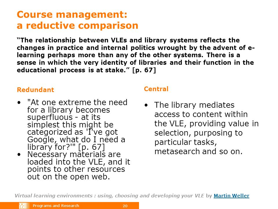 Programs and Research 20 Course management: a reductive comparison Virtual learning environments : using, choosing and developing your VLE by Martin WellerMartin Weller The relationship between VLEs and library systems reflects the changes in practice and internal politics wrought by the advent of e- learning perhaps more than any of the other systems.