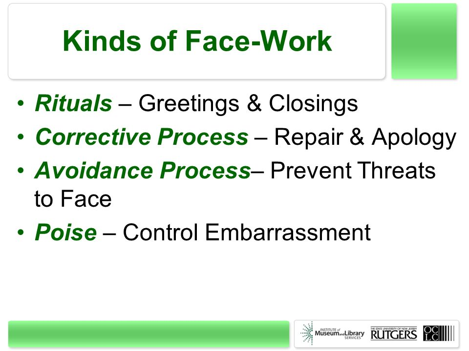 Kinds of Face-Work Rituals – Greetings & Closings Corrective Process – Repair & Apology Avoidance Process– Prevent Threats to Face Poise – Control Emb