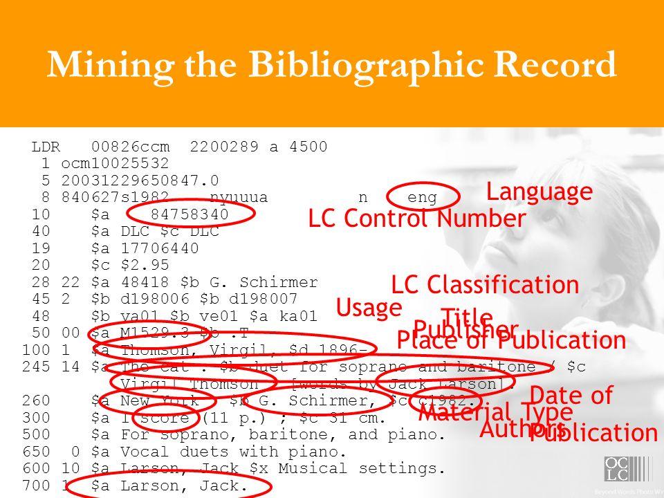 Mining the Bibliographic Record LDR 00826ccm 2200289 a 4500 1 ocm10025532 5 20031229650847.0 8 840627s1982 nyuuua n eng 10 $a 84758340 40 $a DLC $c DL