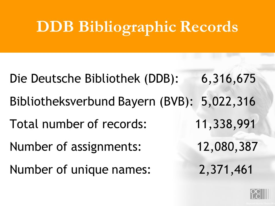 DDB Bibliographic Records Die Deutsche Bibliothek (DDB): 6,316,675 Bibliotheksverbund Bayern (BVB): 5,022,316 Total number of records: 11,338,991 Number of assignments: 12,080,387 Number of unique names: 2,371,461