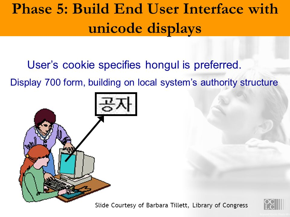 Phase 5: Build End User Interface with unicode displays Users cookie specifies hongul is preferred. Display 700 form, building on local systems author