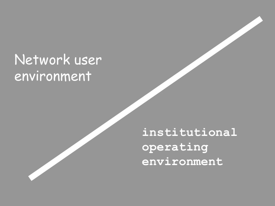 Network user environment institutional operating environment
