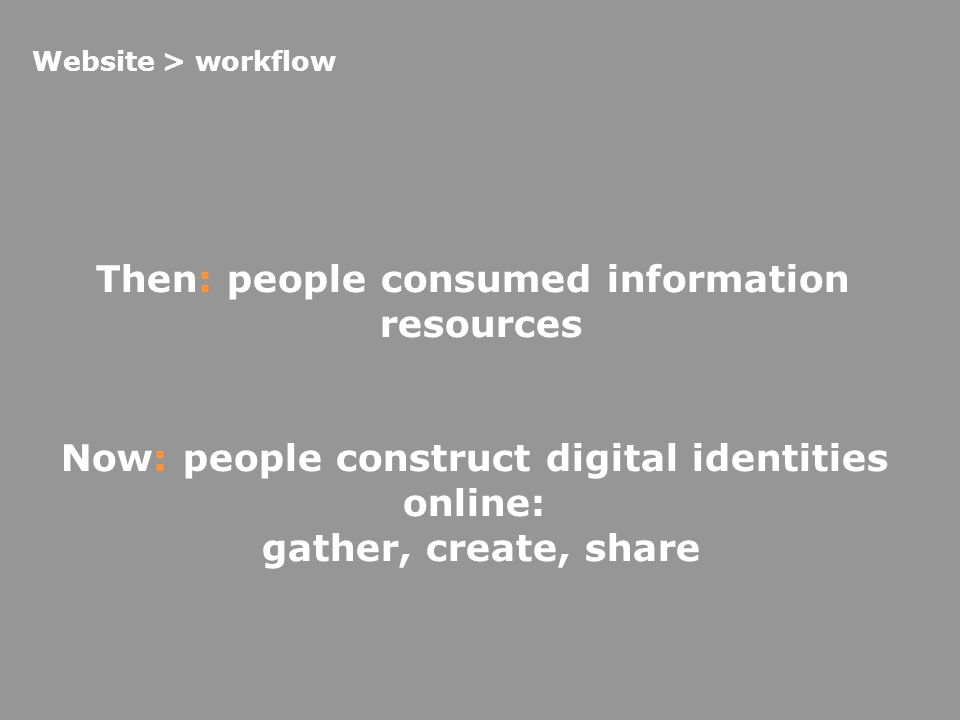Then: people consumed information resources Now: people construct digital identities online: gather, create, share Website > workflow