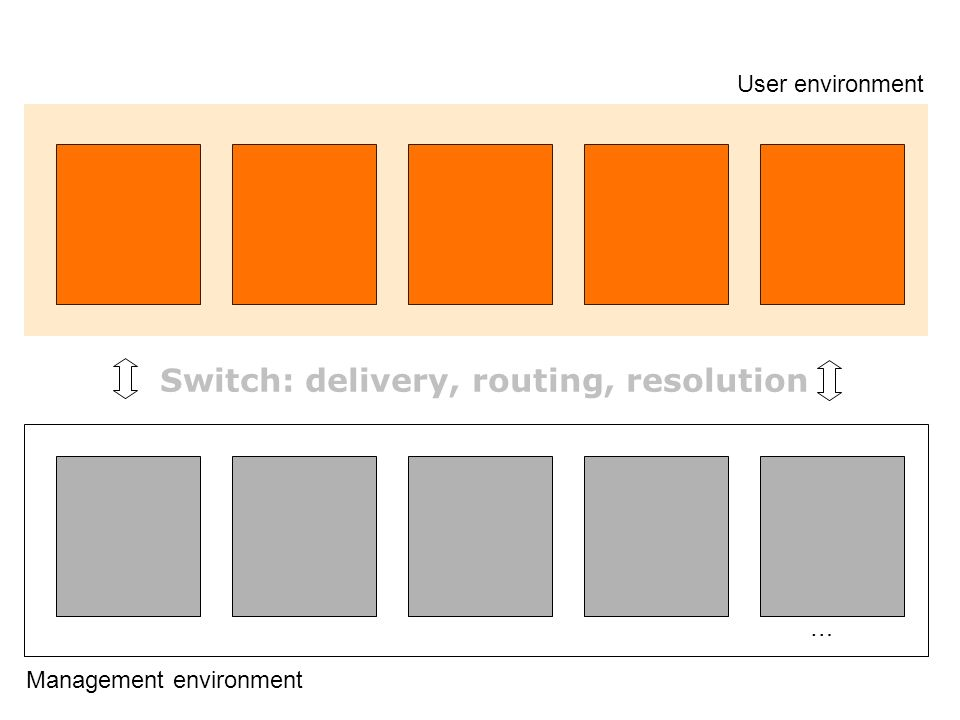 … Management environment User environment Switch: delivery, routing, resolution