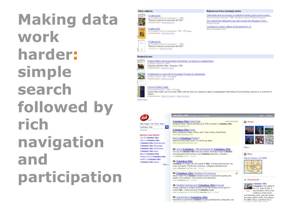 Making data work harder: simple search followed by rich navigation and participation