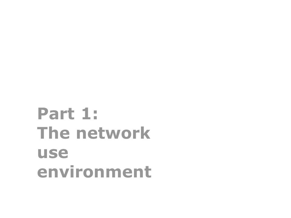 Part 1: The network use environment