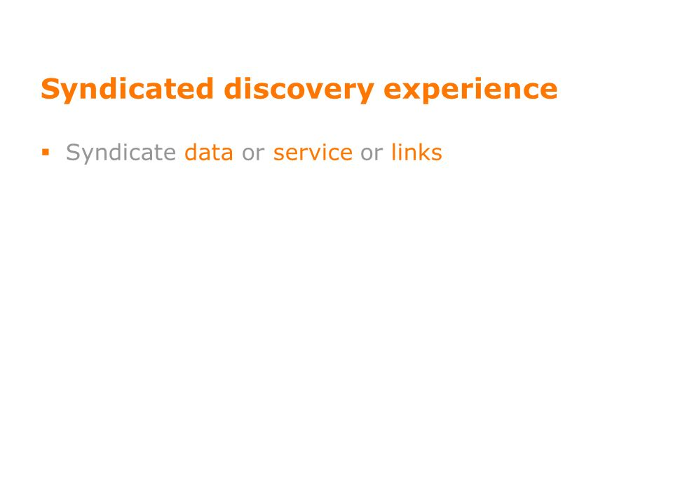 Syndicated discovery experience Syndicate data or service or links