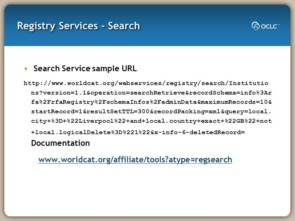 Registry Services - Search Search Service sample URL http://www.worldcat.org/webservices/registry/search/Institutio ns?version=1.1&operation=searchRet