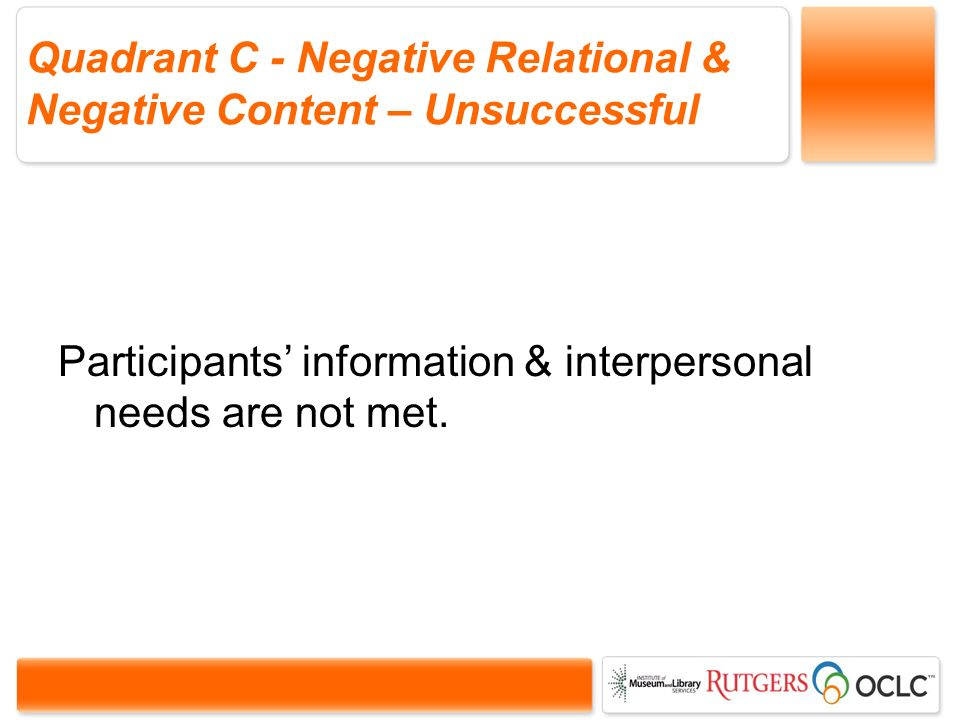 Quadrant C - Negative Relational & Negative Content – Unsuccessful Participants information & interpersonal needs are not met.