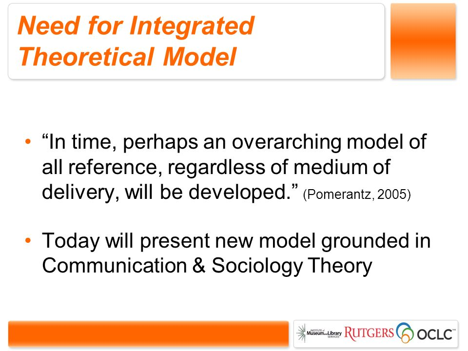 Need for Integrated Theoretical Model In time, perhaps an overarching model of all reference, regardless of medium of delivery, will be developed.