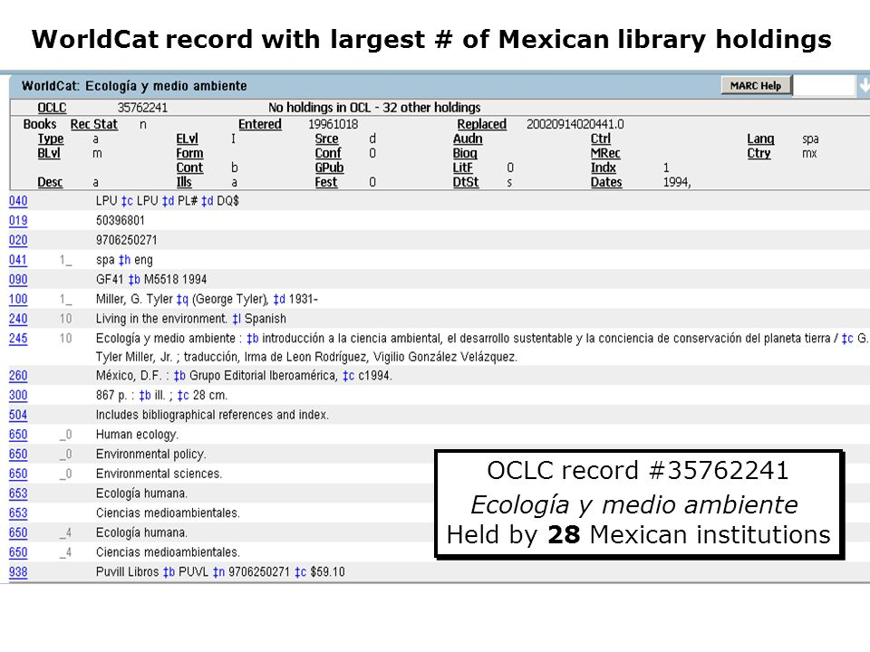 WorldCat record with largest # of Mexican library holdings OCLC record # Ecología y medio ambiente Held by 28 Mexican institutions OCLC record # Ecología y medio ambiente Held by 28 Mexican institutions
