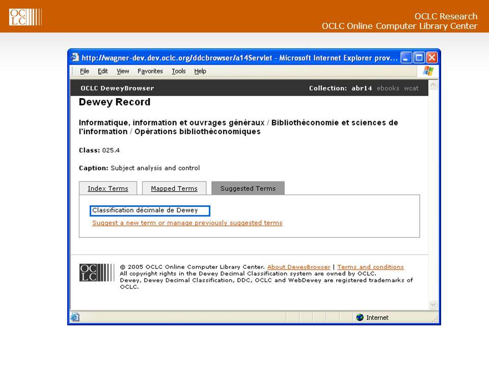 OCLC Research OCLC Online Computer Library Center