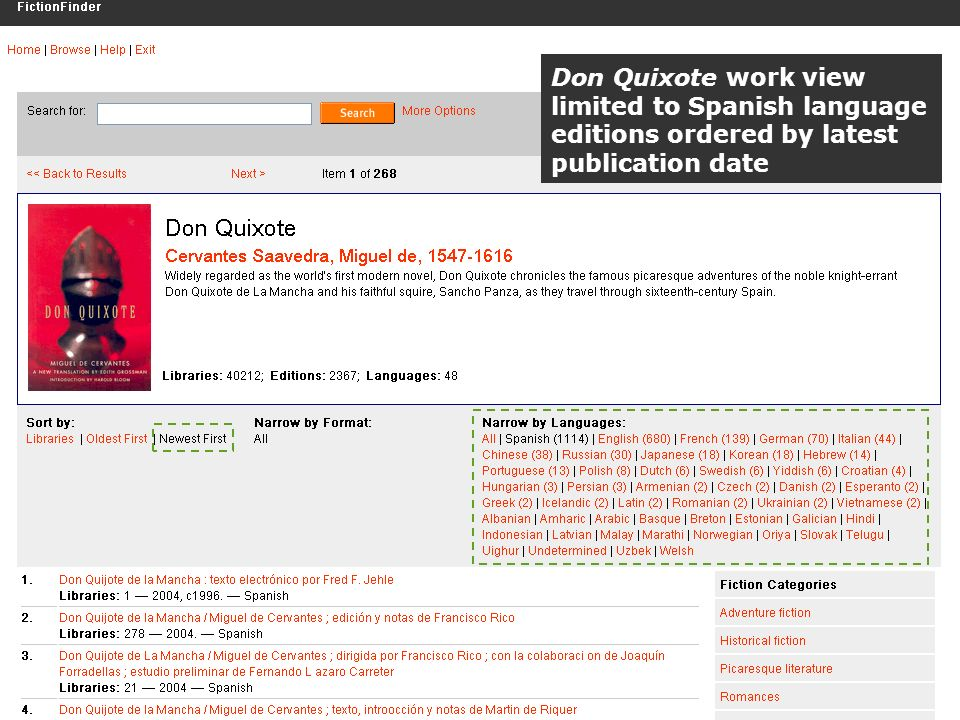 OCLC Online Computer Library Center Don Quixote work view limited to Spanish language editions ordered by latest publication date