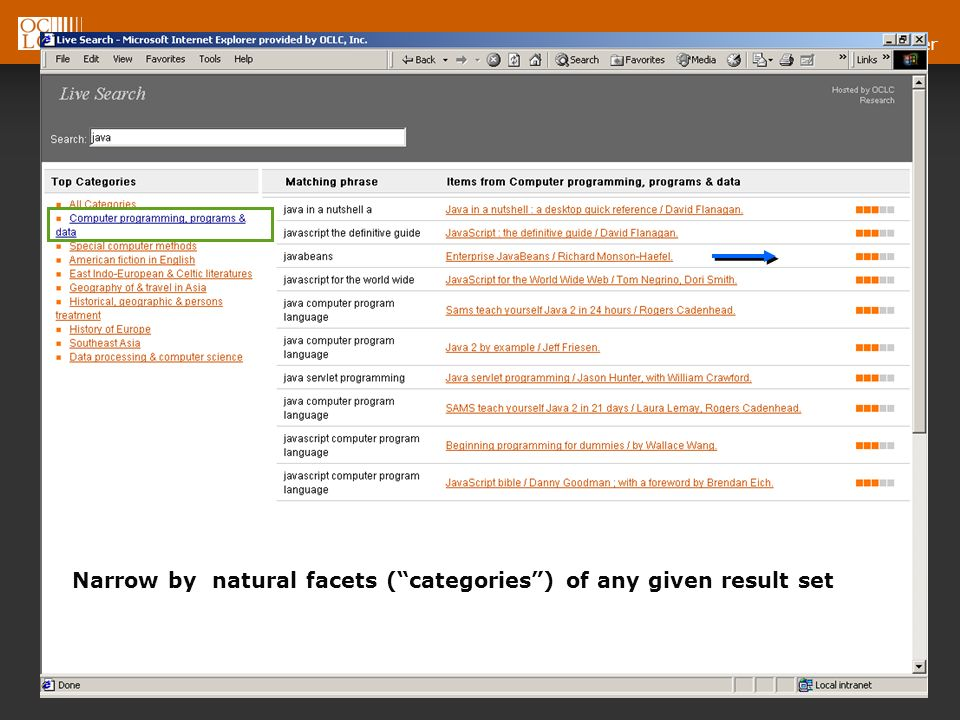 OCLC Online Computer Library Center Narrow by natural facets (categories) of any given result set