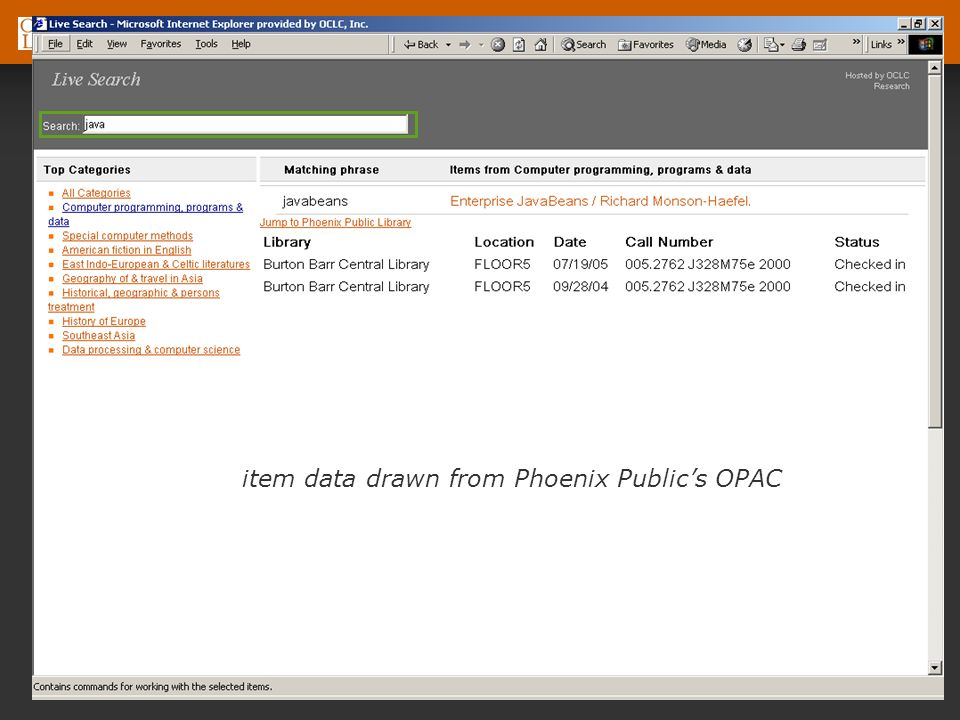 OCLC Online Computer Library Center item data drawn from Phoenix Publics OPAC