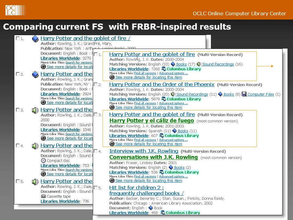 OCLC Online Computer Library Center Comparing current FS with FRBR-inspired results [kw: harry potter goblet fire]