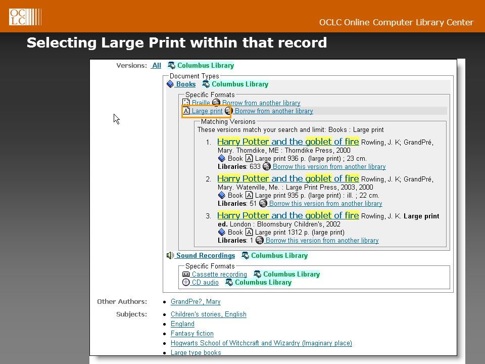 OCLC Online Computer Library Center Selecting Large Print within that record
