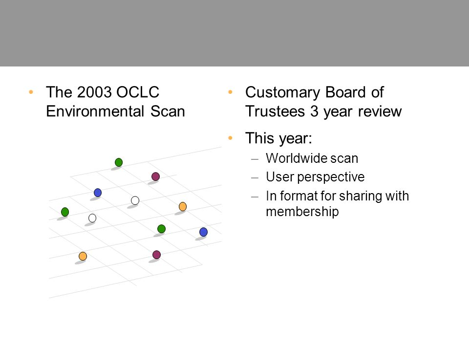 The 2003 OCLC Environmental Scan Customary Board of Trustees 3 year review This year: –Worldwide scan –User perspective –In format for sharing with membership