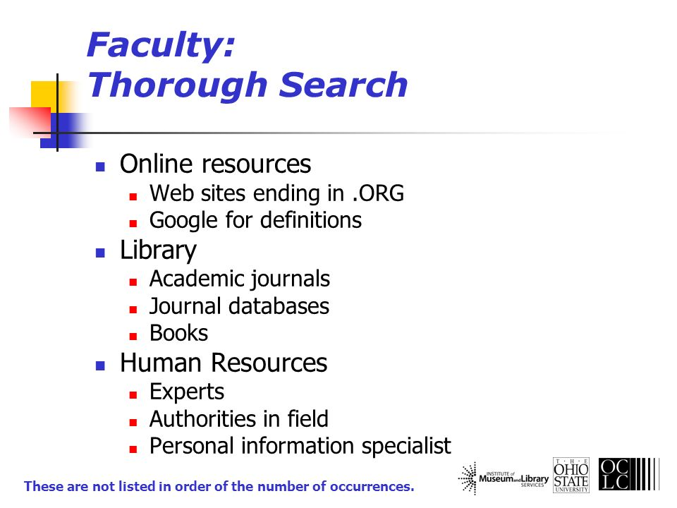 Faculty: Thorough Search Online resources Web sites ending in.ORG Google for definitions Library Academic journals Journal databases Books Human Resou