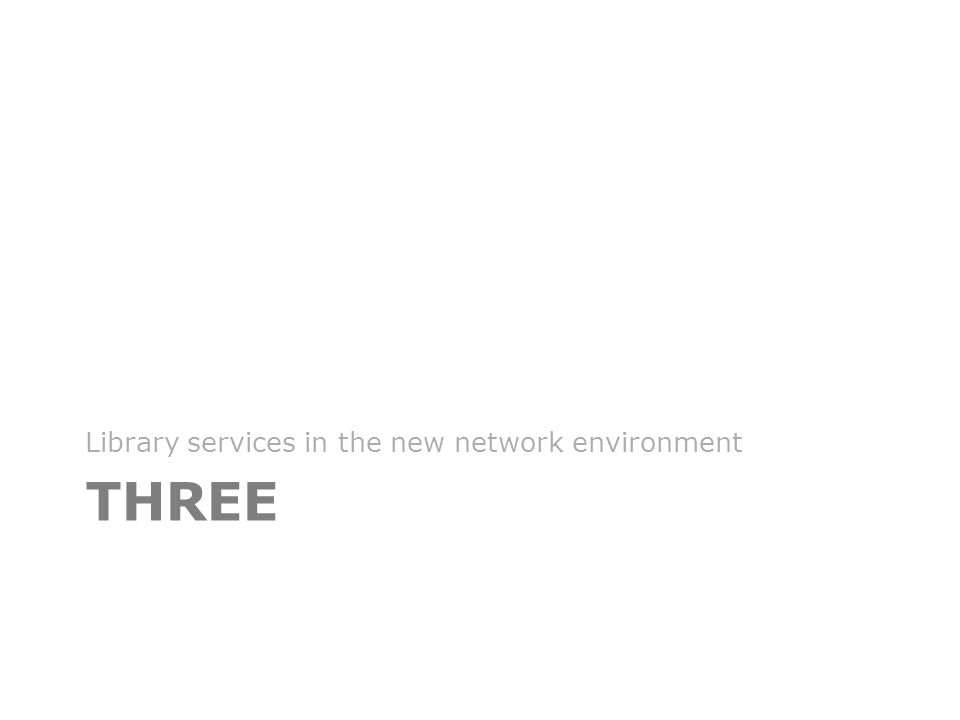 THREE Library services in the new network environment